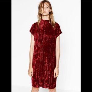 Zara red crushed velvet dress in size S